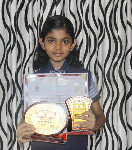 Devi Priya got 1st & 2nd Prize in  Classical Music & Light Music
